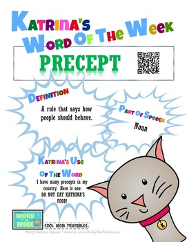 Printable Poster for Word of the Week: PRECEPT Literacy & Vocabulary Builder