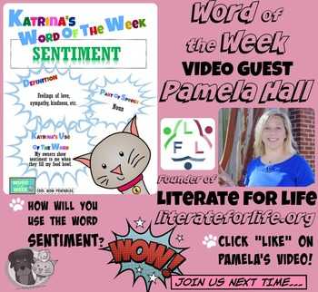 Printable Poster for Word of the Week: SENTIMENT Literacy & Vocabulary Builder