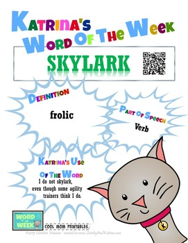 Printable Poster for Word of the Week: SKYLARK Literacy & Vocabulary Builder