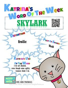 Printable Poster for Word of the Week: SKYLARK Literacy &