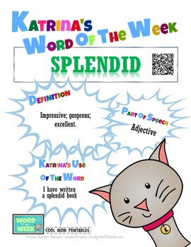 Printable Poster for Word of the Week: SPLENDID Literacy & Vocabulary Builder