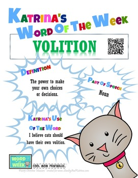 Printable Poster for Word of the Week: VOLITION Literacy & Vocabulary Builder