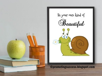 Inspirational Quote Be Your Own Kind of Beautiful ~ Celebrate Diversity Poster