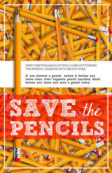 Printable Posters Bundle, Classroom Decoration: Save the Pencils, Erasers, Glue