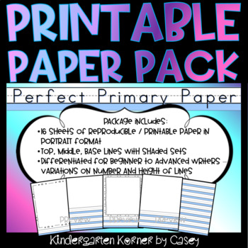 Printable Primary Lined Journal Writing Paper - 16 sheets Portrait K 1 2