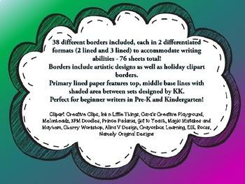 Printable Primary Writing Paper MEGA PACK 75 sheets Kindergarten 1st