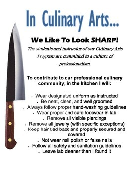 Printable Professionalism Poster for Foods and Culinary Classes