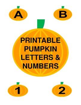 Printable Pumpkin Letters & Numbers