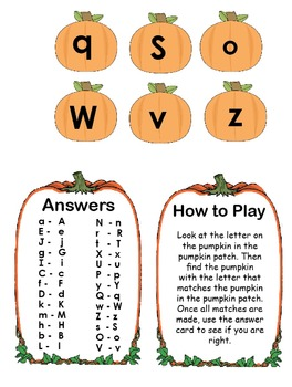 Printable Pumpkin Patch Match Game - Matching Upper and Lower Case Letters