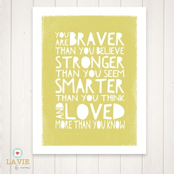 Printable Quote | Binder Cover | Printable Art | You Are Braver . . .