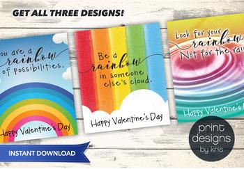 Printable Rainbow Valentines Day Card - Printable Valentine - School Valentine