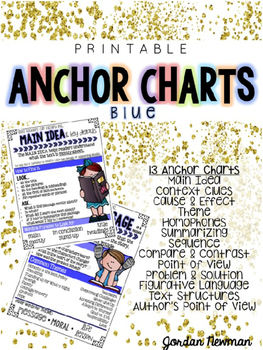 Printable Reading Comprehension Anchor Charts {BLUE}