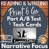 Printable Reading Comprehension Part A Part B & Writing Test, Task Cards-NWT1