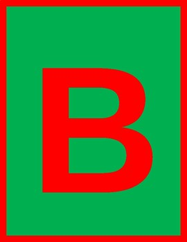 Printable Red Letters and Numbers With Red Borders and Green Background