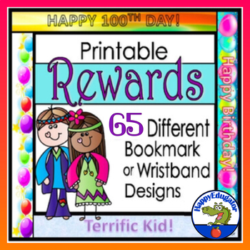 Awards - Printable Rewards -  30 Bookmarks or Wristbands