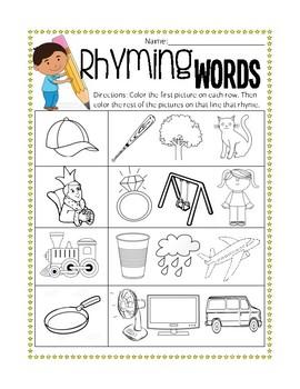 Printable Rhyming Words Pre-Assessment