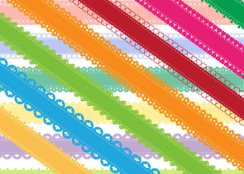 Printable Ribbon Clipart • 14 Colors and 7 Picot Edgings • Brights and Pastels