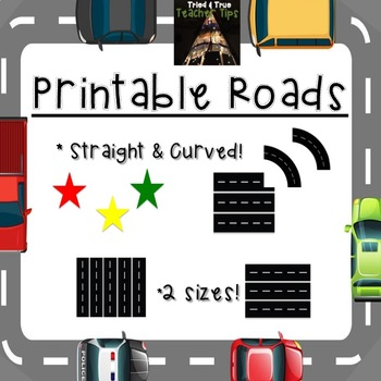 Printable Roads! 2 Sizes! Now Includes Curve!