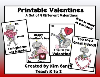 image relating to Robot Printable titled Printable Robotic Valentines/Valentines for Young children/Quality K, 1, 2 through Educate K toward 2