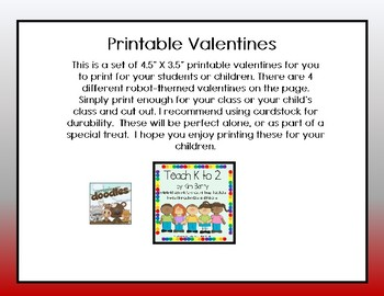 Printable Robot Valentines/Valentines for Kids/Grade K, 1, 2 by Teach K to 2