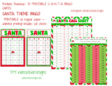 Printable SANTA Bingo Game Q 30 for classroom - includes c