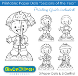 Printable - Seasons of the Year - Boys - B/W - Coloring Pages - Set 020