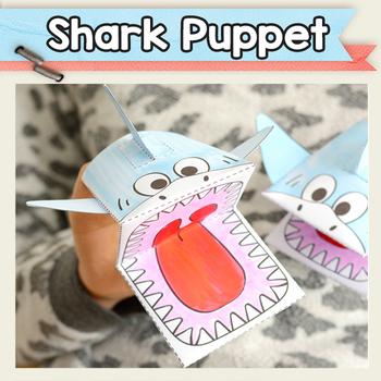 Printable Shark Puppet Template - Craft Activities - Shark Activities