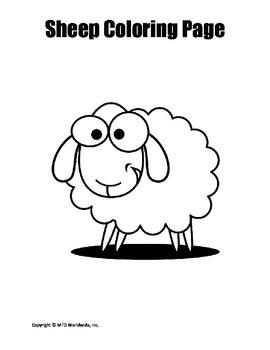 Printable Sheep or Lamb Coloring Page Worksheet