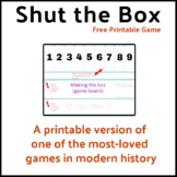Printable Shut the Box Game for ages 8+