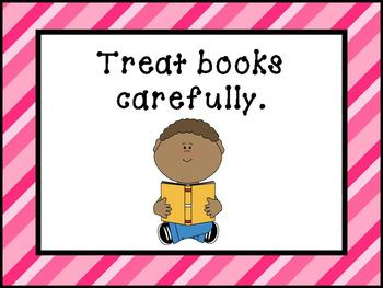 Printable Signs and Posters for your School Library - Pink