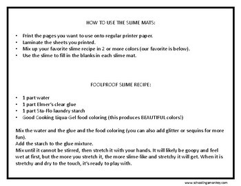 image regarding Slime Recipe Printable called Printable Slime Understanding Mats