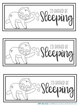 Bookmarks For Students to Color : Sloth