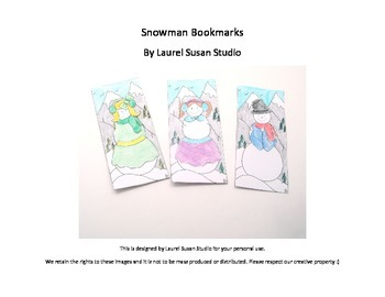 Printable Snowman Bookmarks Coloring Pages PDF