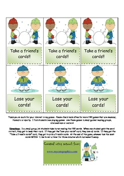 FRY words, printable, snowman, game for Fluency
