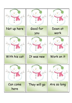 Fry PHRASES, PRINTABLE SNOWMAN game, (First 100 FRY WORDS)