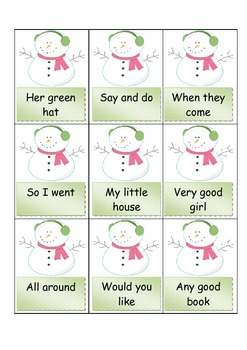 image about Fry Phrases Printable named Fry Text, PRINTABLE SNOWMAN match, (Very first 100 FRY Phrases)