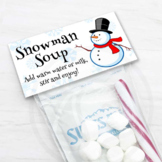 Printable Snowman Soup Bag Toppers, Christmas & Winter Holiday Party Favors