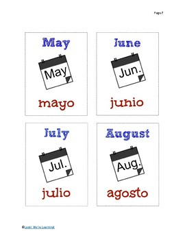 Spanish Months of the Year Flashcards - ¡Los Meses del Año!