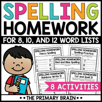 spelling homework worksheets