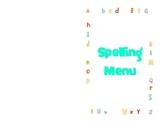 Printable Spelling Menu