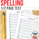 Printable Spelling Test with Primary Lines - Half Page