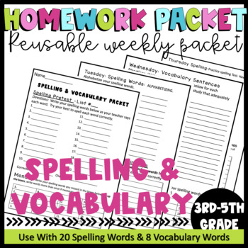 Printable Spelling & Vocabulary Homework Packet For the Whole Year