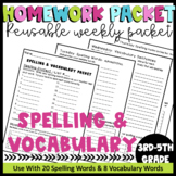 Printable Spelling & Vocabulary Homework Packet For the Wh