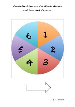 Printable Spinners for Maths Centres