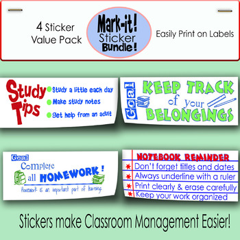 Classroom Management: Printable Sticker *Bundle* (You save!):print on labels