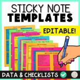 Printable Sticky Notes Behavior Data IEP Goals Checklists Organization