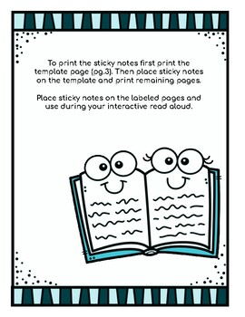 Printable Sticky Notes for Read Aloud of The Skeleton Inside You