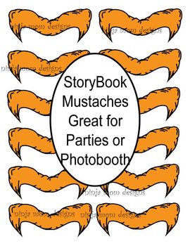 Printable Story Book Mustaches for Parties or Photobooth