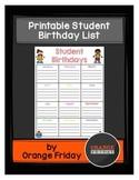 Printable Student Birthday List