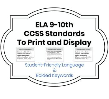Printable Student-Friendly Common Core State Standards 9-10